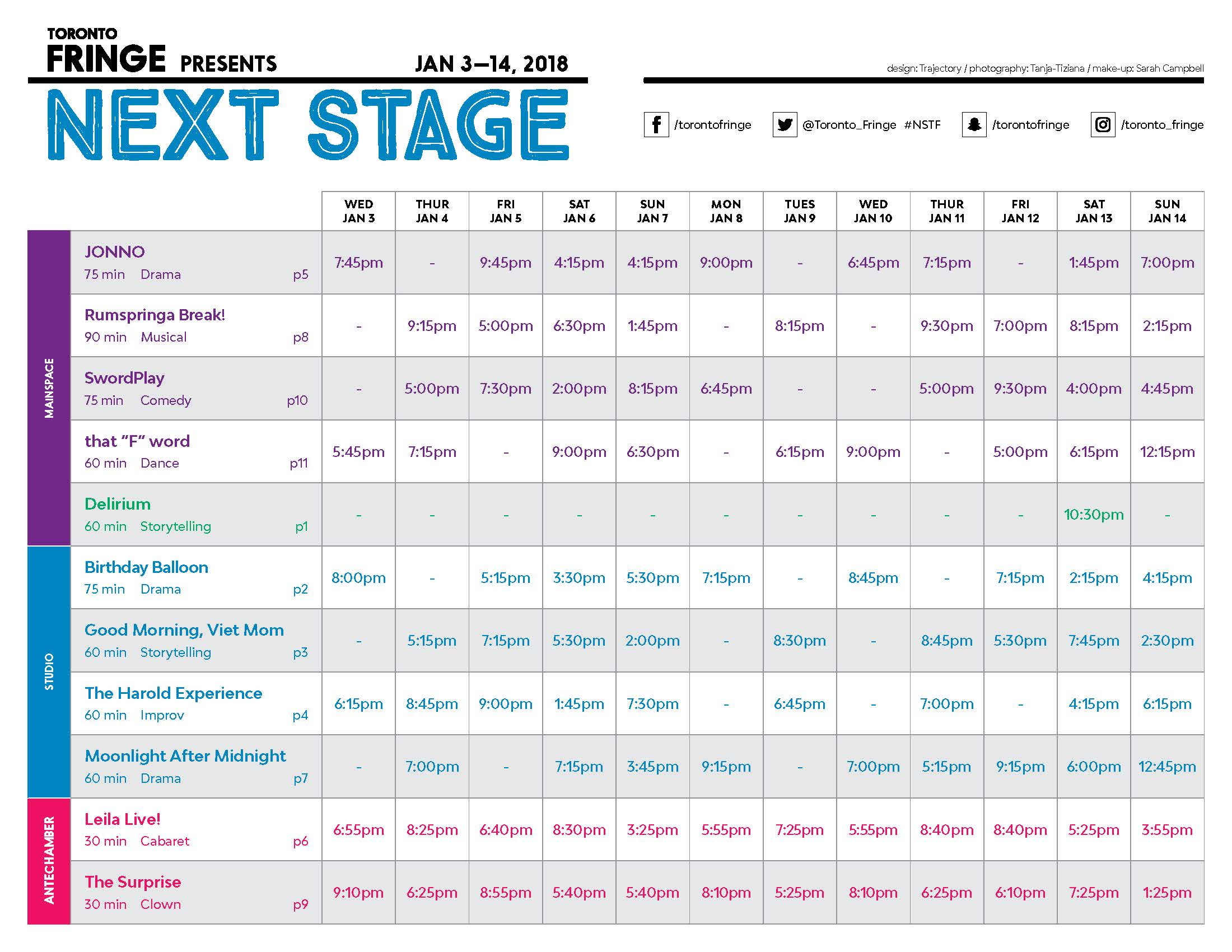 Next Stage 2018 Schedule