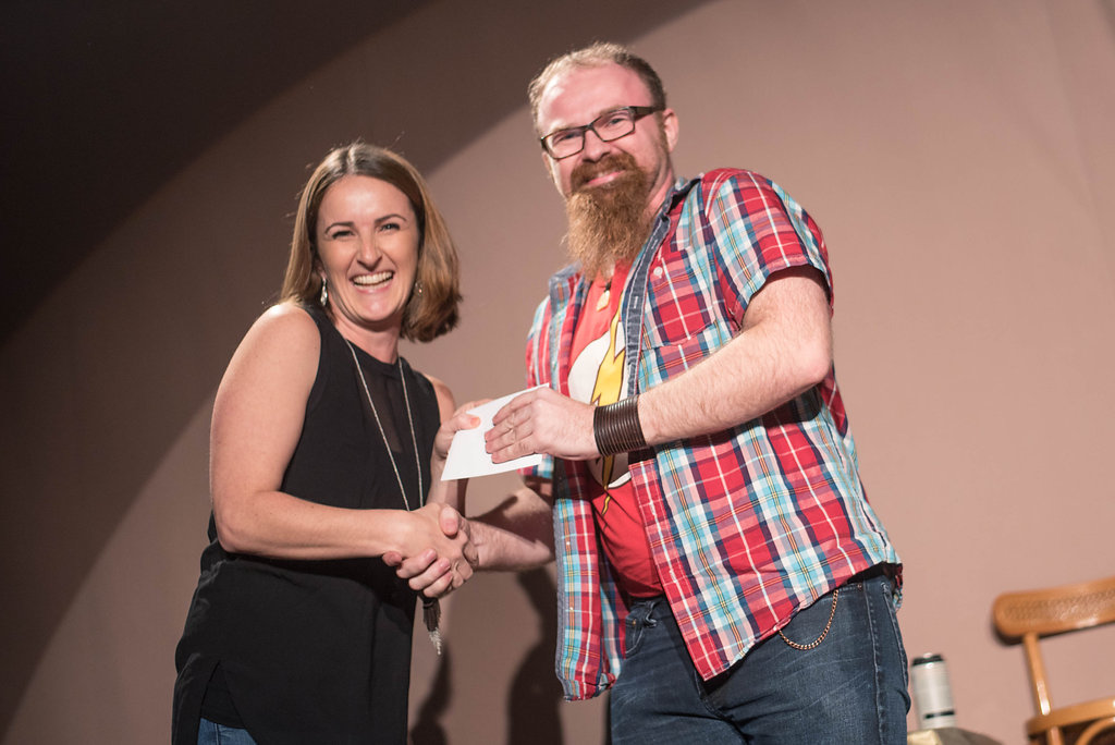 Kelly Straughan with New Play Contest winner Steven Jackson