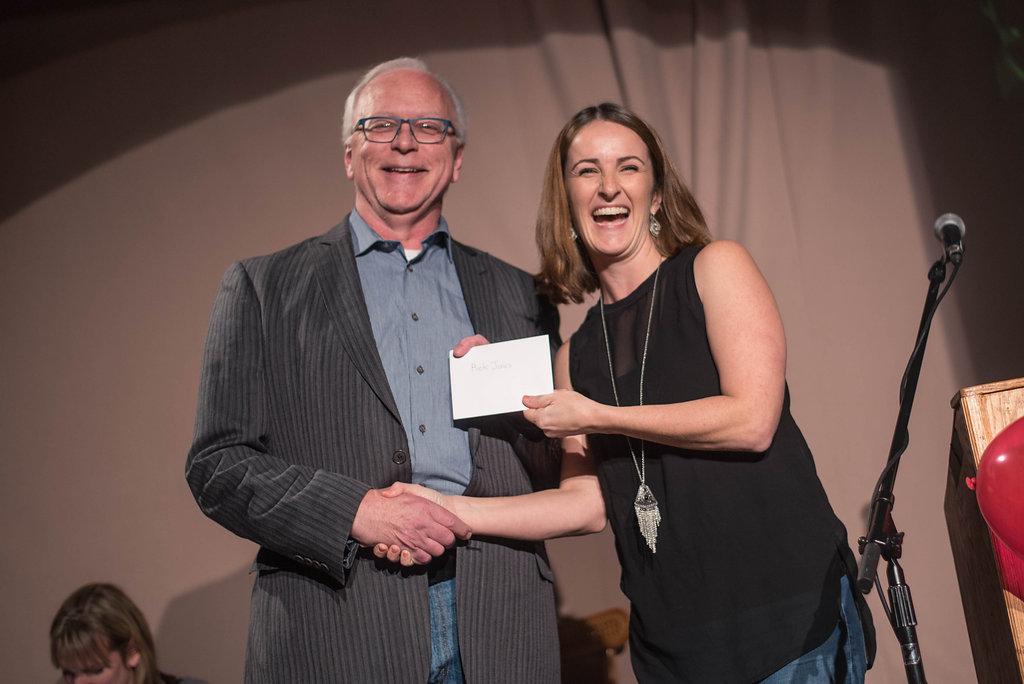 Kelly Straughan with Paul O'Sullivan Prize winner Rick Jones