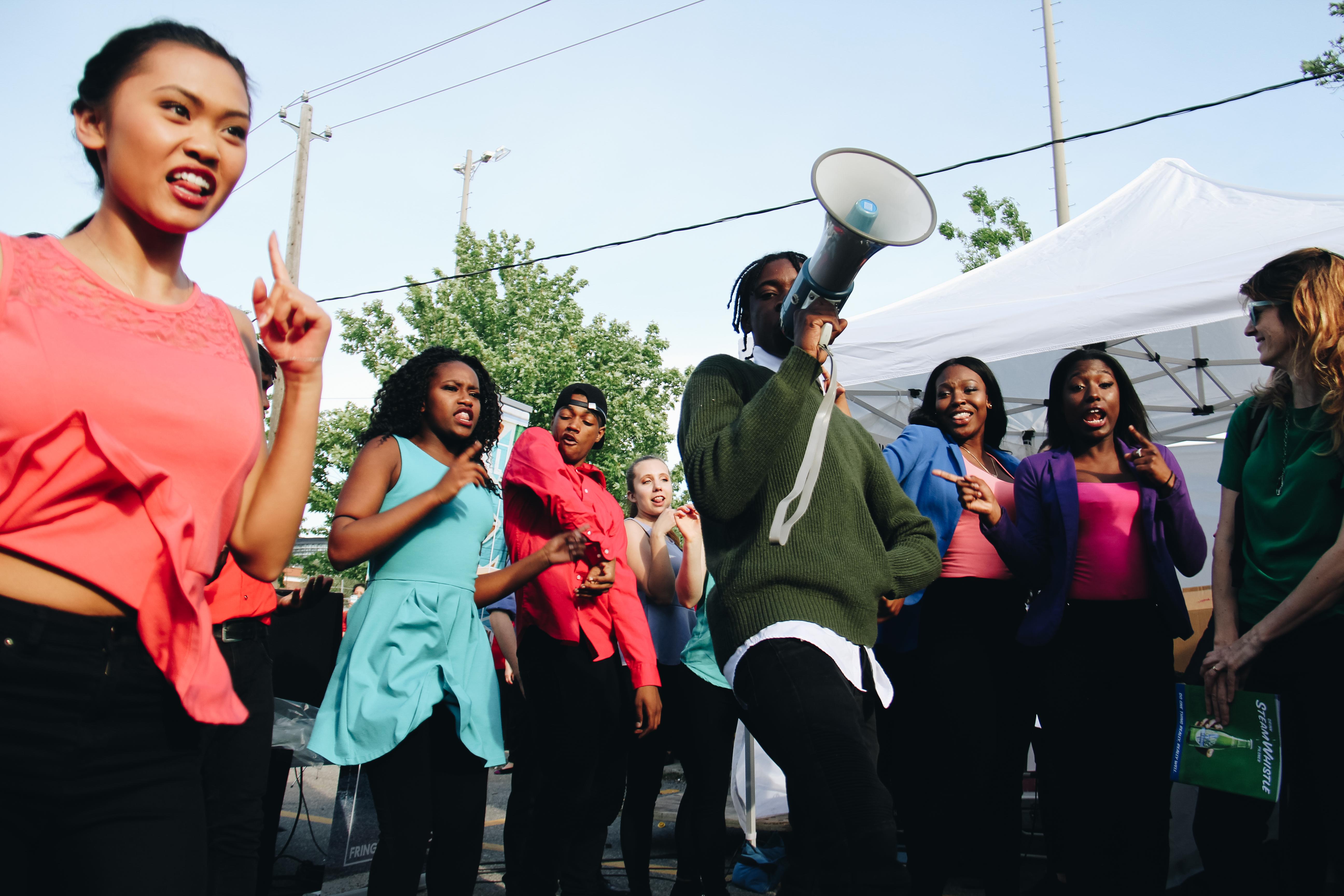 Teens dancing and having fun during the Teenjur Young Critics Program