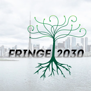 The Toronto Skyline and water behind fog with a tree and its roots in front