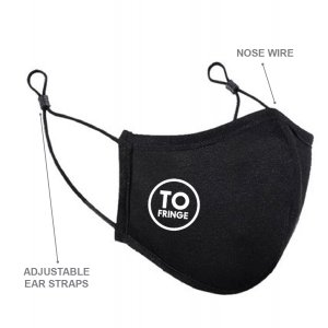 """A black face mask with adjustable straps with the """"Fringe T.O."""" logo on the right cheek."""